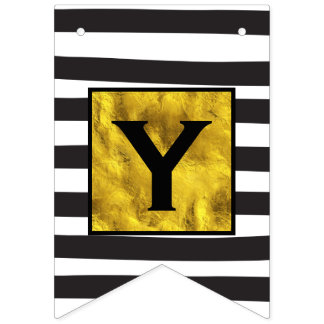 Personalized Your Text Here Gold with Black Stripe Bunting