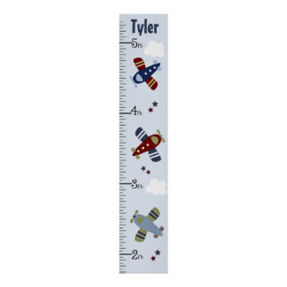 Personalized Zoom Along Airplanes Growth Chart Poster