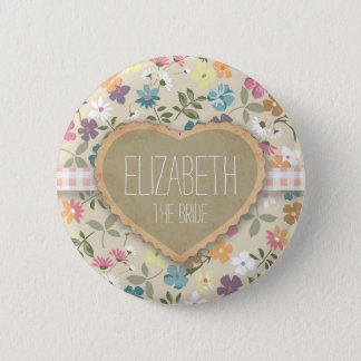 Personlised Floral Heart And Gingham Print Badges