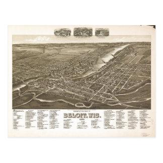 Perspective Map of Beloit, Wisconsin (1890) Postcard