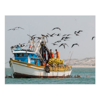 Peru, Los Organos. Fishing Boat In Los Organos Postcard