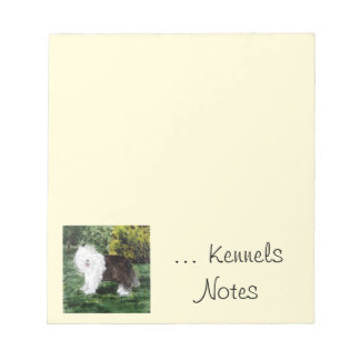 Pet Business with Old English Sheepdog Art Notepad