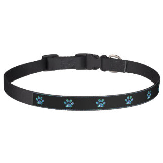 Pet Collar Teal Blue Bling Paw Prints