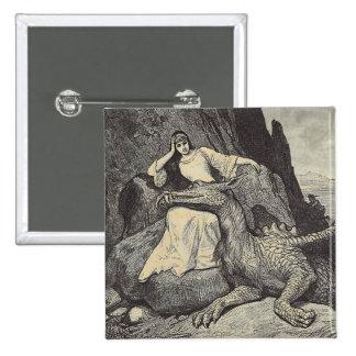 Pet Dragon and Maiden 15 Cm Square Badge