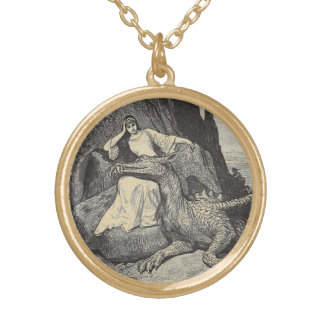 Pet Dragon and Maiden Gold Plated Necklace
