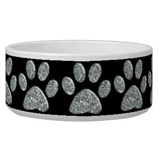 Pet Food Bowl - Light Silver Bling Paw Prints