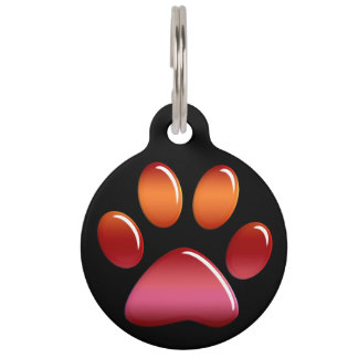 Pet ID Tag - Candy Sunset Paw Print