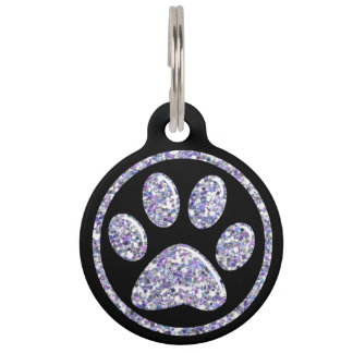 Pet ID Tag - Lt Purple Bling Paw Print on Black