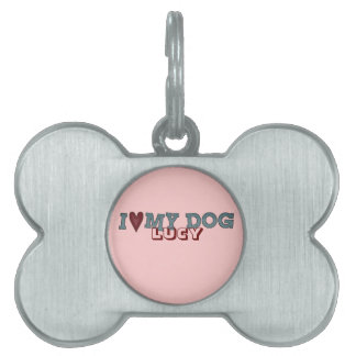 Pet Name Tag Love my Dog Lucy Customize