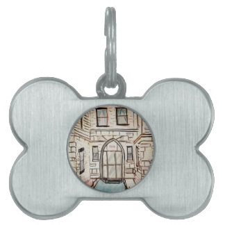 Pet Name Tag with City Building Art