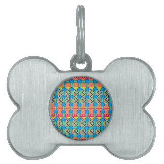 Pet Name Tag with Colorful Geometric Design