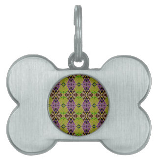 Pet Name Tag with Unique Olive Pattern