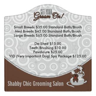 Pet Salon Custom Signage in Brown GROOM ON! Door Sign
