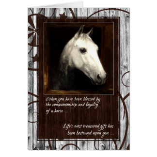 Pet Sympathy Loss of a Horse Barn Wood Card