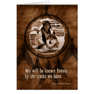 Pet Sympathy Native American Wolf and Dreamcatcher Card