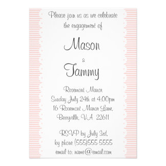 Petal Pink Pinstripes Engagement Party Invitation