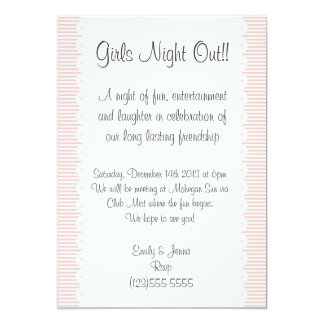 Petal Pink Pinstripes Girls Night Out Invitation