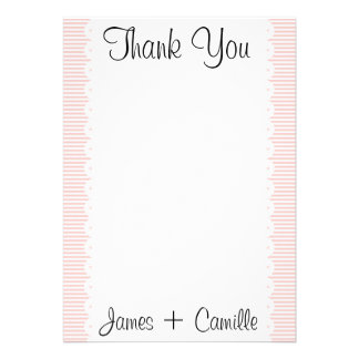 Petal Pink Pinstripes Thank You Card / Note