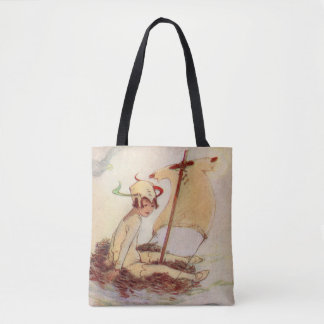 Peter Pan on Nest Raft Barrie book painting Tote Bag