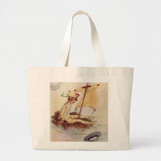 Peter Pan on Nest Raft Large Tote Bag