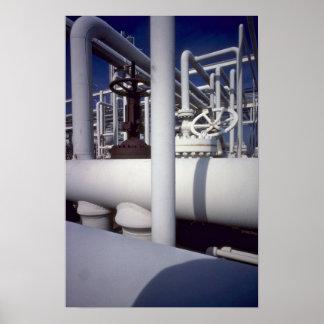 Petroleum refinery pipeline poster