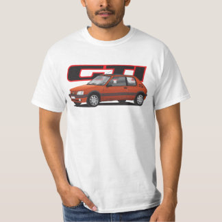 Peugeot 205 GTi with text, red T-Shirt
