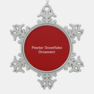 Pewter Snowflake Ornament Red Background