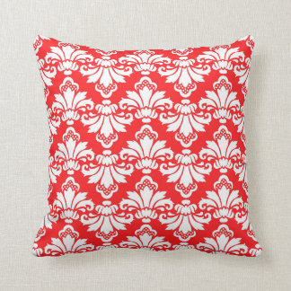 PH&D Antique Damask Throw Pillow White/Red Throw Cushions