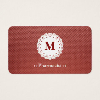 Pharmacist Lace Monogram Maroon Business Card