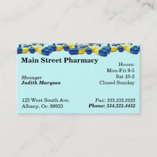 Prescription pharmacy business cards zazzle nz pharmacy pharmacist medication list business card reheart Image collections