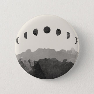 Phases of the Moon Astronomy Space Watercolor 6 Cm Round Badge