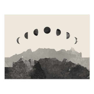Phases of the Moon Astronomy Space Watercolor Postcard