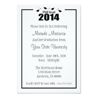 "PhD Grad 2014 Graduation Invitation (Black Caps) 5"" X 7"" Invitation Card"
