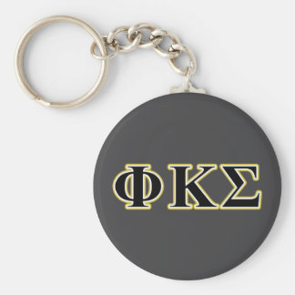Phi Kappa Sigma Black and Gold Letters Key Ring