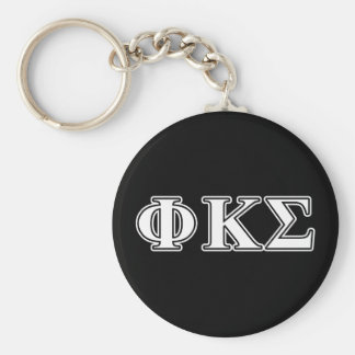 Phi Kappa Sigma White and Black Letters Key Ring