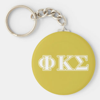 Phi Kappa Sigma White and Gold Letters Key Ring