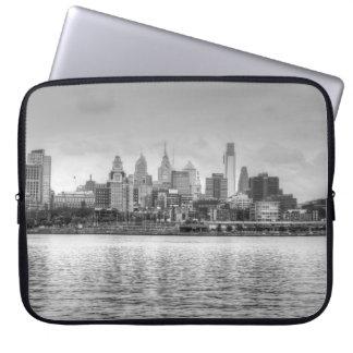 Philadelphia skyline in black and white laptop sleeve