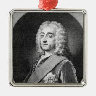 Philip Dormer Stanhope, engraved by John Simon Christmas Ornament