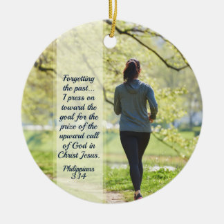 Philippians 3:13-14 Press towards the high calling Christmas Ornament