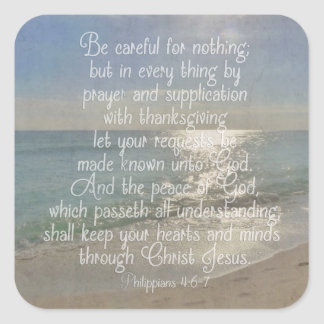 Philippians 4:13 Peace Bible Verse Beach Christian Square Sticker
