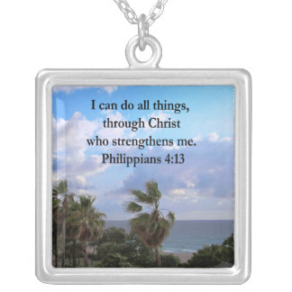 PHILIPPIANS 4:13 PRAYER SILVER PLATED NECKLACE