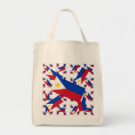 Philippine Flag in Multiple Colourful Layers Askew Grocery Tote Bag