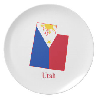 Philippines flag over Utah state map Plate