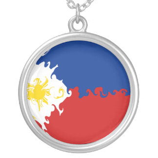 Philippines Gnarly Flag Round Pendant Necklace