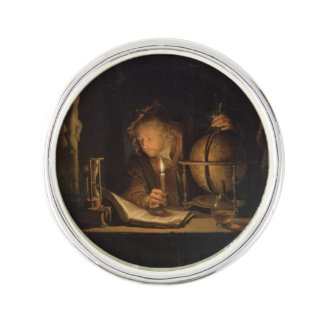 Philosopher Studying by Candlelight Lapel Pin