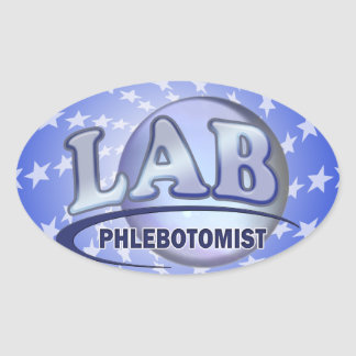 PHLEBOTOMIST Fun Blue LOGO Oval Sticker