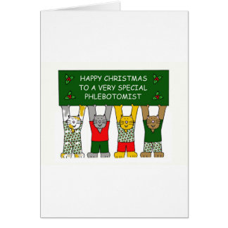Phlebotomist Happy Christmas Cats Card
