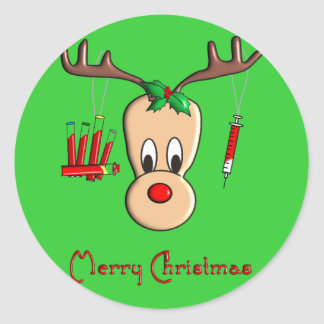 Phlebotomist Reindeer Christmas Gifts Classic Round Sticker