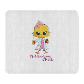 PHLEBOTOMY CHICK Decorative Glass Cutting Board 6""
