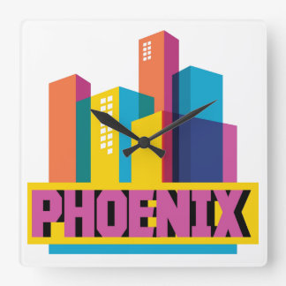Phoenix, Arizona | Neon Skyline Square Wall Clock